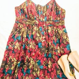 Halogen Brown and Red Pattern Dress